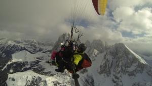 Paragliding winter Val Gardena