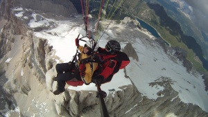 over the Marmolada - paragliding